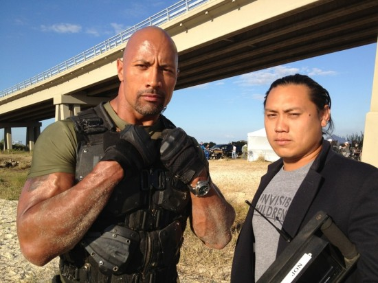 Jon Chu (right) with Dwayne' The Rock' Johnson