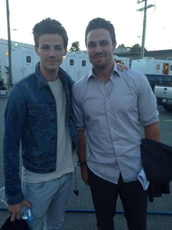 Grant Gustin with 'Arrow' Stephen Amell