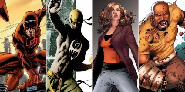 Daredevil, Iron First, Jessica Jones, and Luke Cage