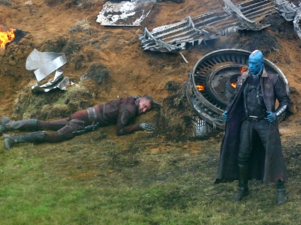 Michael Rooker on set as Yondu