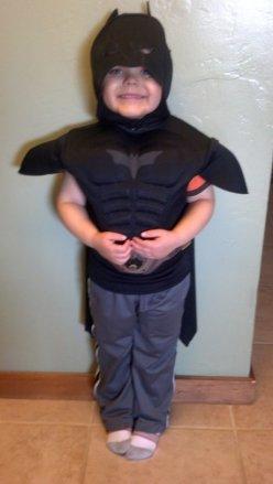 Miles dressed as Batman